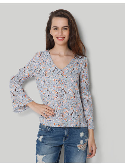 Blue V Neck Bell Sleeve Print Top