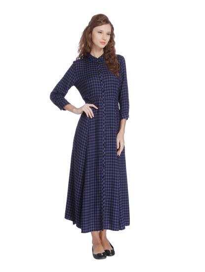 Dark Blue Check Maxi Dress