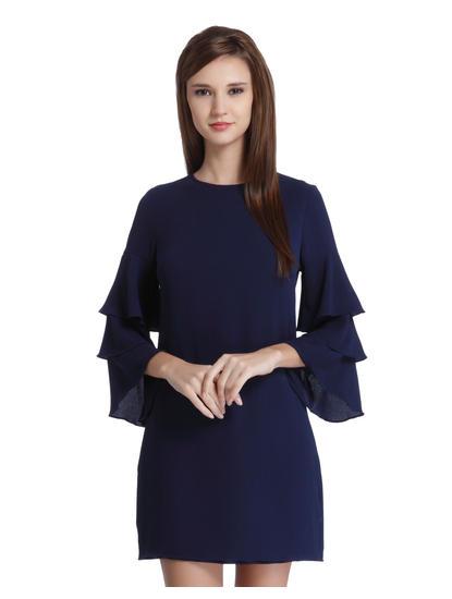 Blue Frill Sleeves Mini Dress