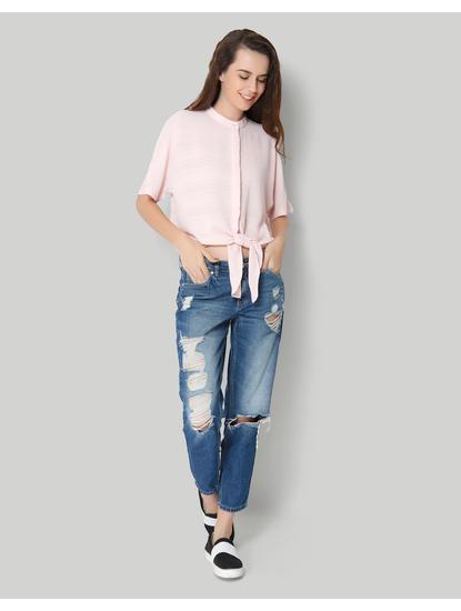 Pink Mandarin Collar Tie Up Shirt