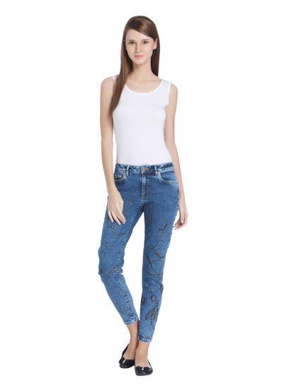 Blue Scribble Print Regular Waist Skinny Jeans