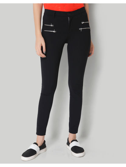 Black Zipper Mid Waist Ankle Length Skinny Pant