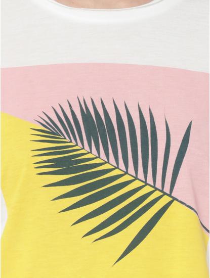 White Colour Blocked Leaf Print T-Shirt