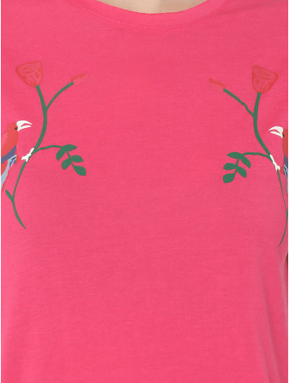 Pink Bird Print T-Shirt