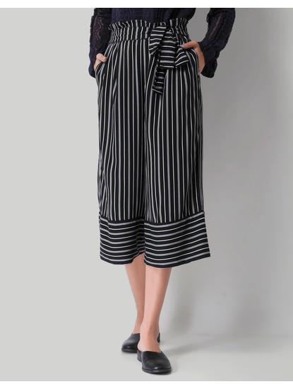 Black Striped Cropped Culotte Pants
