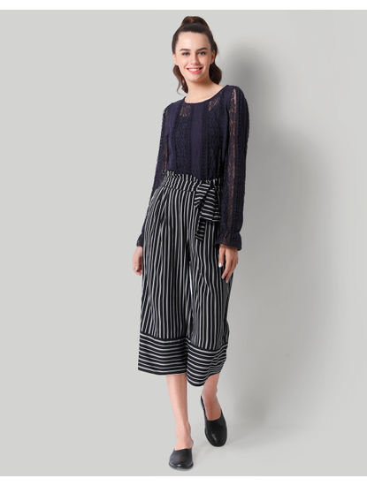 Black Striped Cropped Culotte Pants