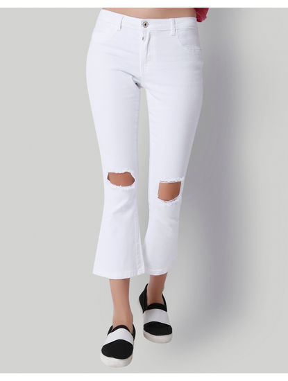 White Ripped Knee Mid Rise Flared Jeans
