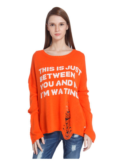Orange Distressed Text Print T-Shirt