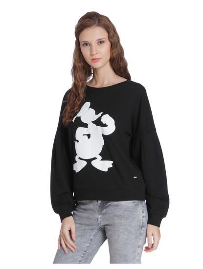 Black Donald Duck Print Sweatshirt