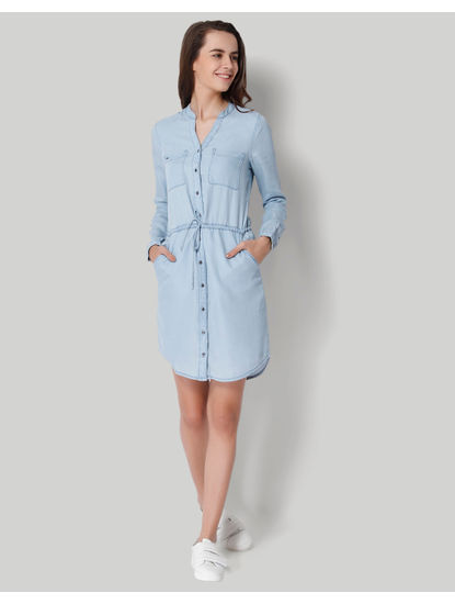 Light Blue Denim Shirt Dress