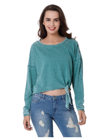 Green Knot Detail Drop Shoulder Top
