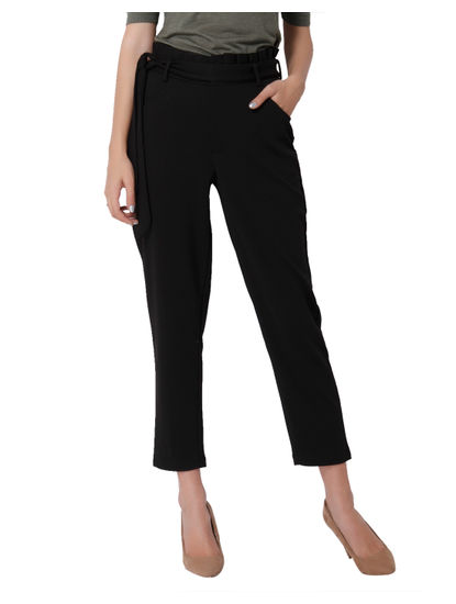 Black Tie Waist Mid Rise Ankle Length Pants