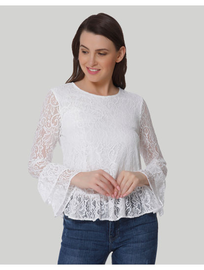 White Lace Tiered Sleeves Top