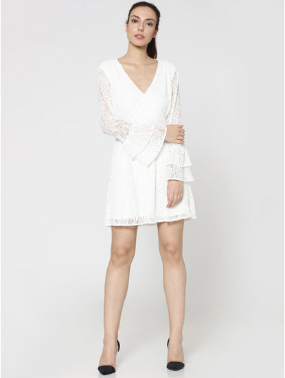 White Lace Bell Sleeves Fit & Flare Dress