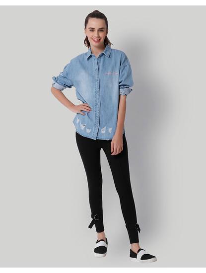 Light Blue Feminist Print Denim Shirt