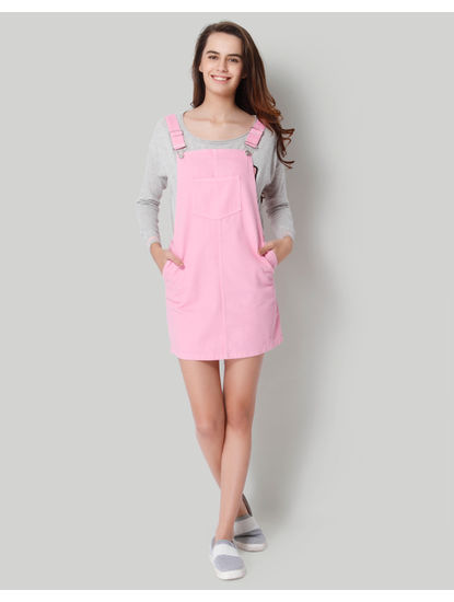 Pink Short Denim Dungaree Dress