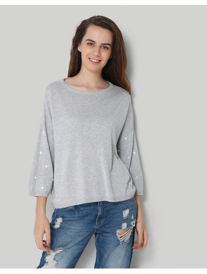 Grey Stud Full Sleeve Pullover