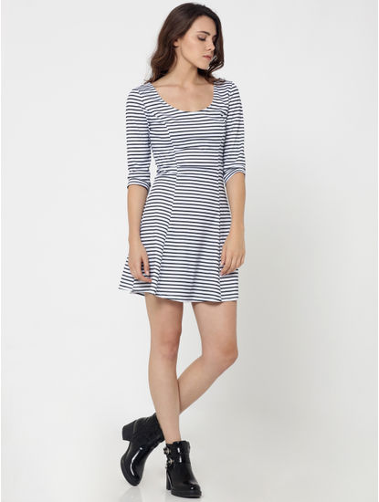 Black and White Striped Skater Dress
