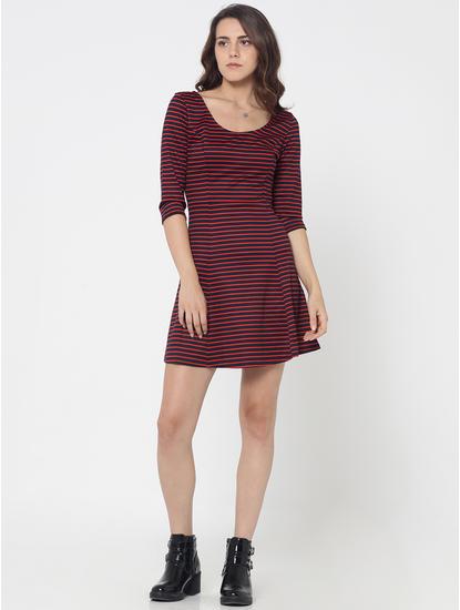Dark Blue and Red Striped Skater Dress