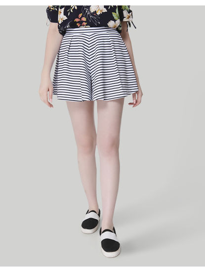 White Striped Mid Rise Slim Shorts