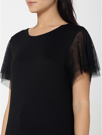 Black Mesh Sleeves Top