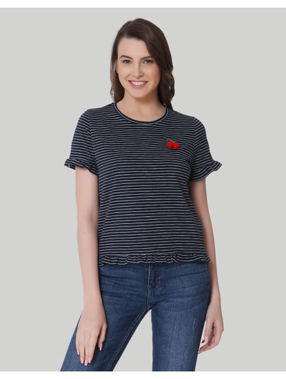 Black & White Striped Cherry Detail T-Shirt