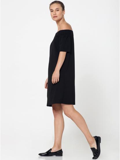 Black Off Shoulder Shift Dress