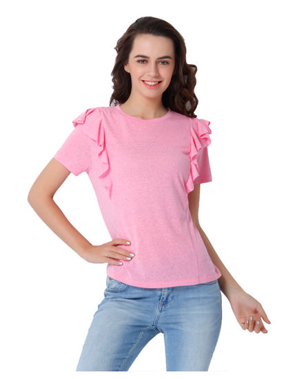 Pink Frill Detail Top