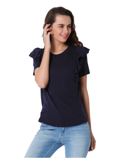 Dark Blue Frill Top