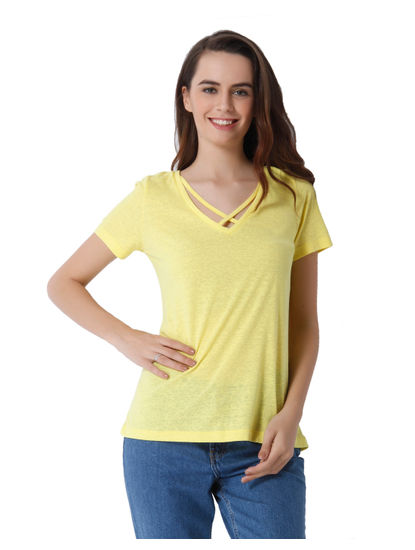 Yellow String Detail Knit T-Shirt