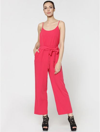Pink Spaghetti Strap Bow Detail Jumpsuit