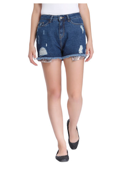 Blue Sequined Mid Rise Shorts