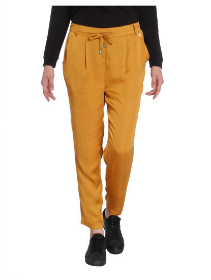 Mustard Tape Detail Satin Pants