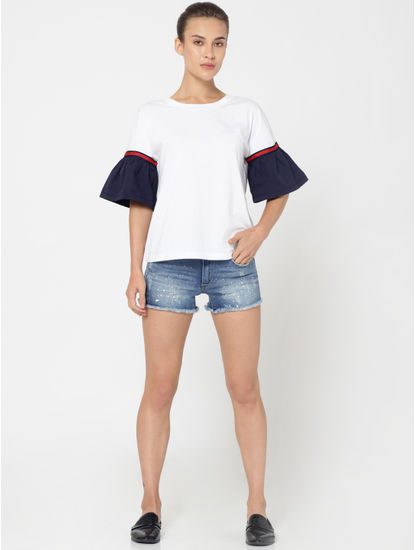 Blue Mid Rise Push Up Denim Shorts