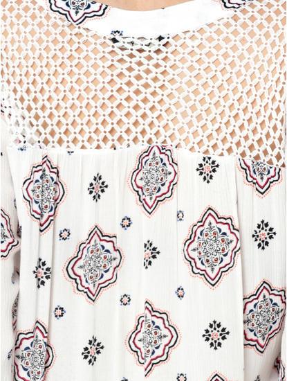 White Printed Mesh Detail Top