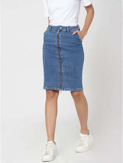 Blue Zip Up High Waist Denim Pencil Skirt