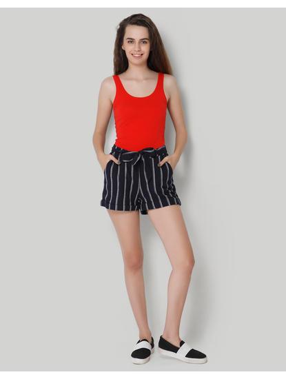 Dark Blue Striped Shorts