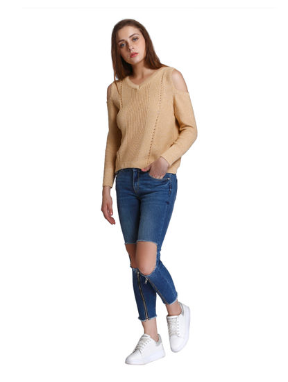 Beige Cold Shoulder Pullover