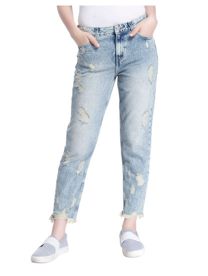 Light Blue Distressed Boyfriend Fit Jeans