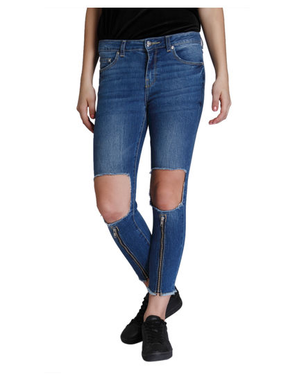 Dark Blue Zip Detail Ripped Super Low Skinny Fit Jeans