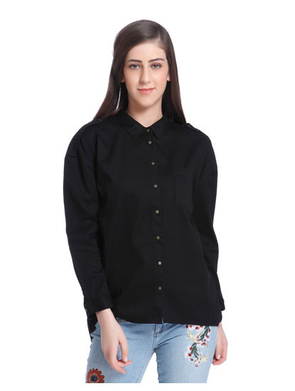Black Slogan Print Shirt
