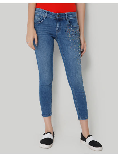 Blue Low Rise Studded Ankle Length Skinny Jeans