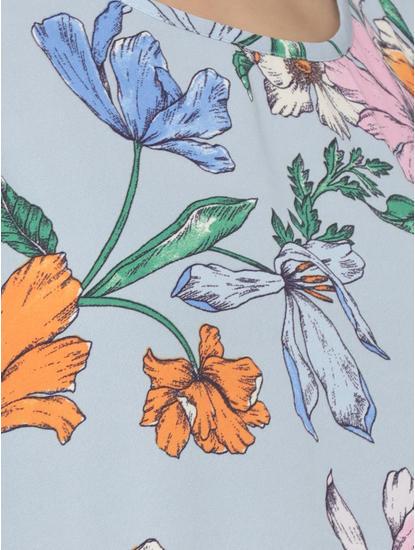 Blue Floral Print Cold Shoulder Top