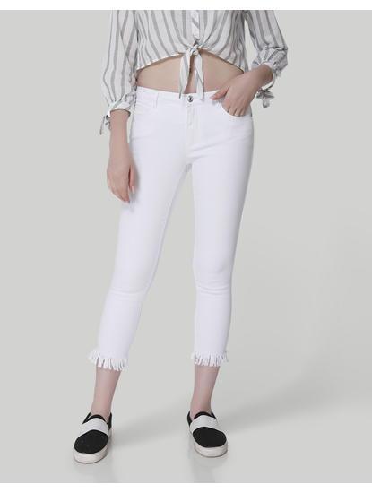 White Mid Rise Skinny Fit Frayed Hem Jeans