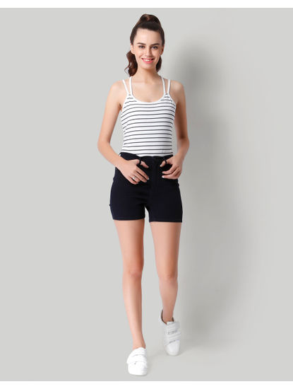High Waist Dark Blue Denim Shorts