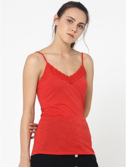 Red Lace Detail Singlet