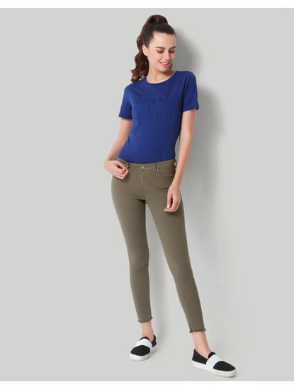 Olive Green Mid Rise Skinny Fit Pants