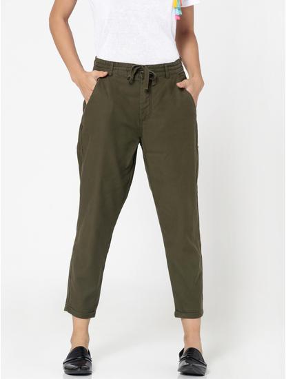 Olive Green Mid Rise Regular Fit Pants