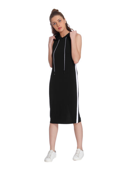 Black Hoodie Midi Dress