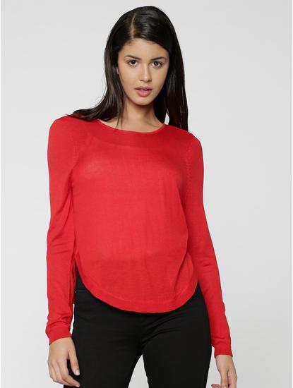 Red V- Back Sweater
